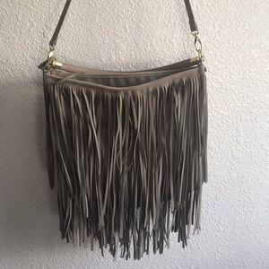 Fringe suede handbag